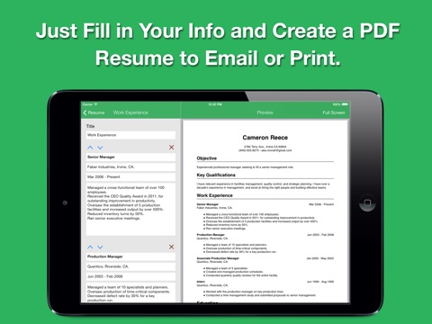 Smart Resume Pro: Resume and CV Designer Screenshot