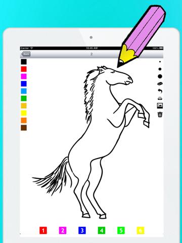 Actief! Kleurboek van Paarden Voor Kinderen: Leren Om Te Schilderen en Kleur van het Paard iPad app afbeelding 2