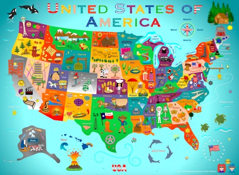 Kids Usa Map.U S A Fun Map For Kids By Liv N Fin Interactive Books On Apple Books
