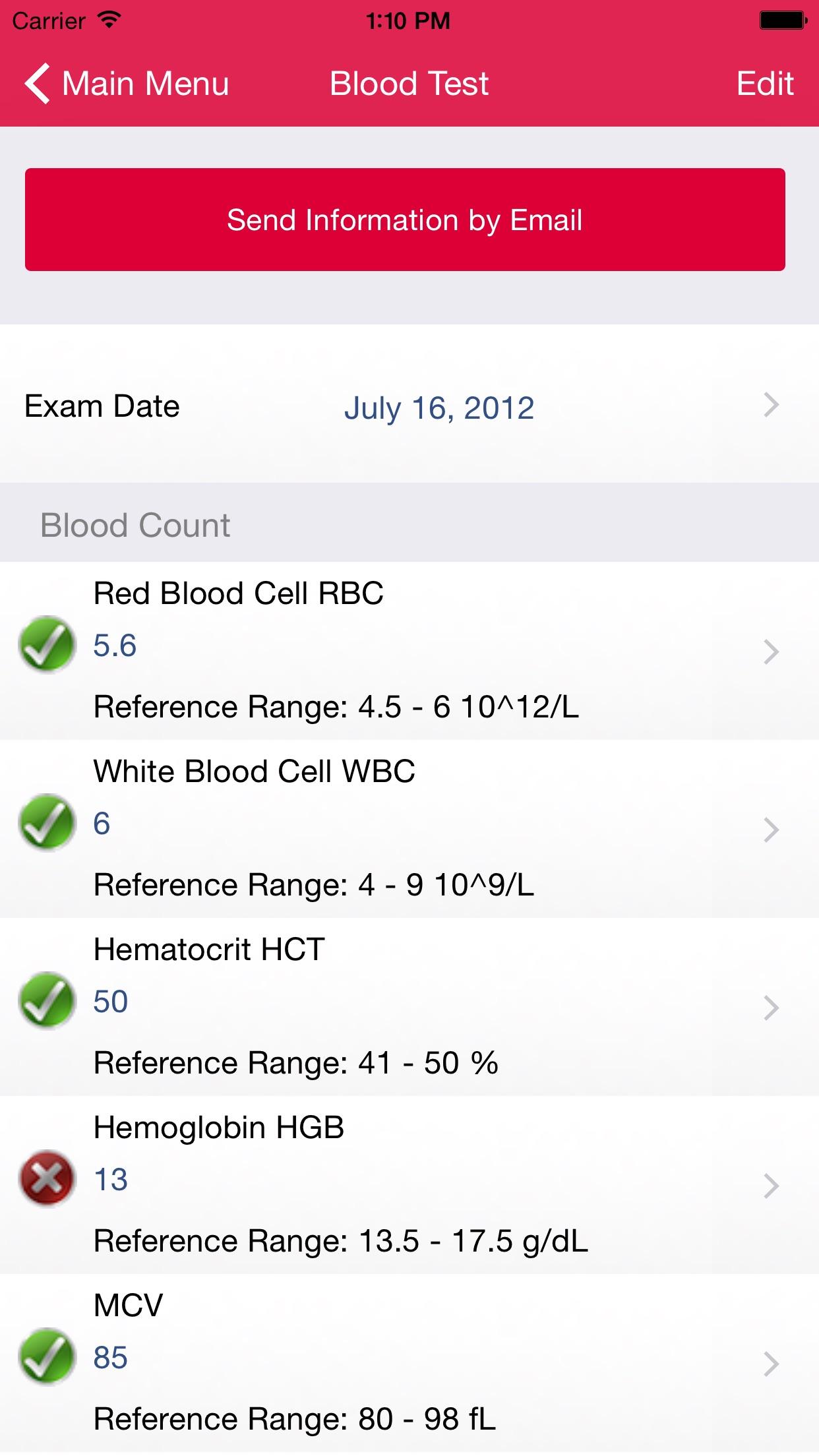 My Blood Test Screenshot