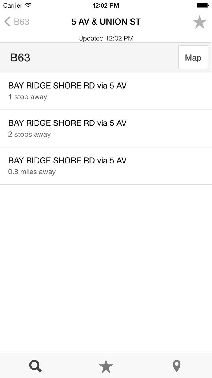 MTA Bus Time Screenshot
