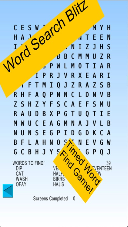 Word Search Blitz, blitz rounds of wordsearch