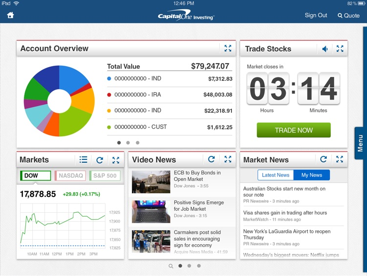 Capital One Investing for iPad