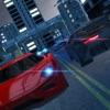 夜の街のトラフィック通り道路車がドリフトを運転し、キャリア シミュレータを駐車場