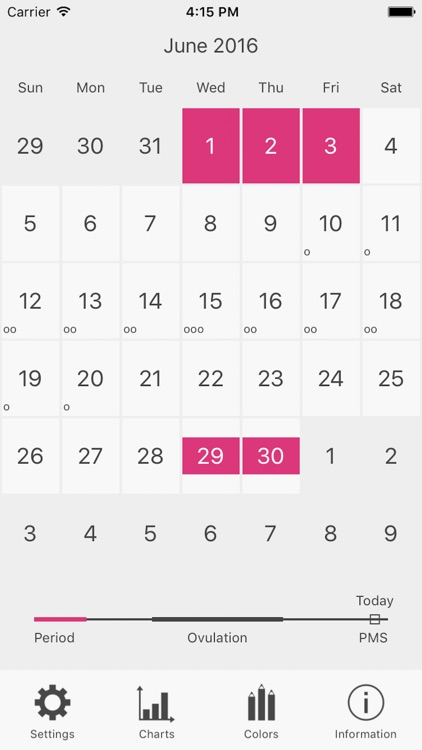 Menstrual Period Tracker and Calendar of Ovulation