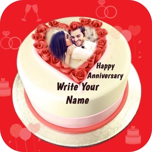 Name Photo On Anniversary Cake By Harikrushna Sonani