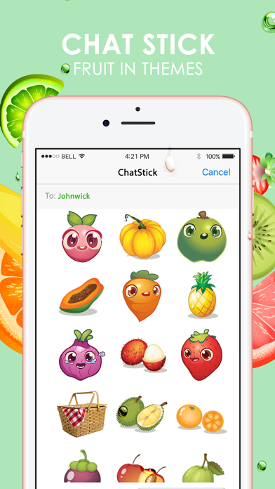 Fruits Emoji Pop Sticker Keyboard Themes ChatStick