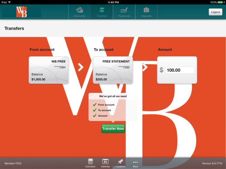 Westfield Bank for iPad screenshot-3