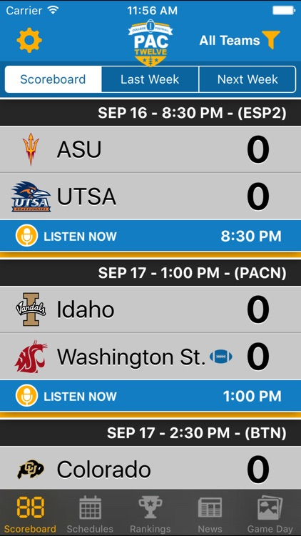 Pac 12 Football Schedules & Scores