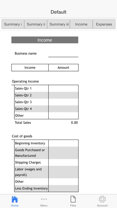 Goods Business Budget Screenshots