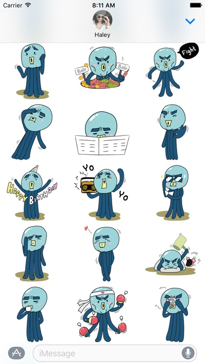 Cranky Octo - Octopus Stickers