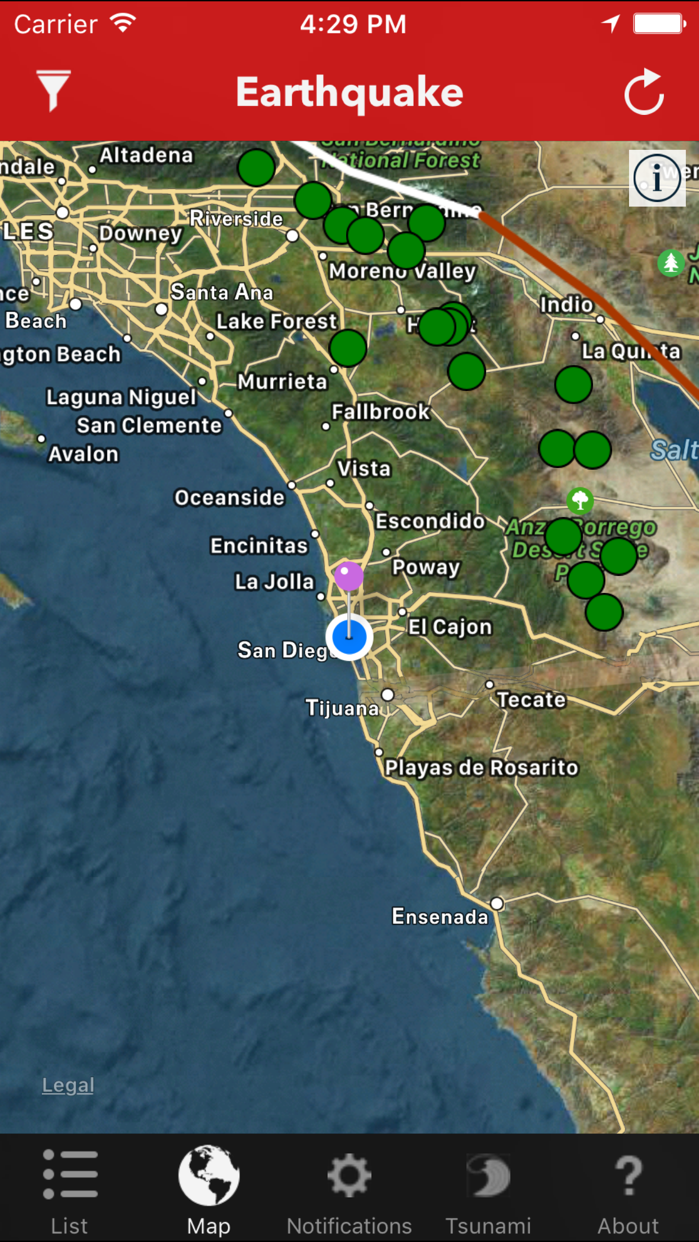 Earthquake Lite - Realtime Tracking App Screenshot