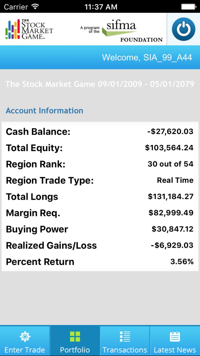 Stock Market Game Screenshot