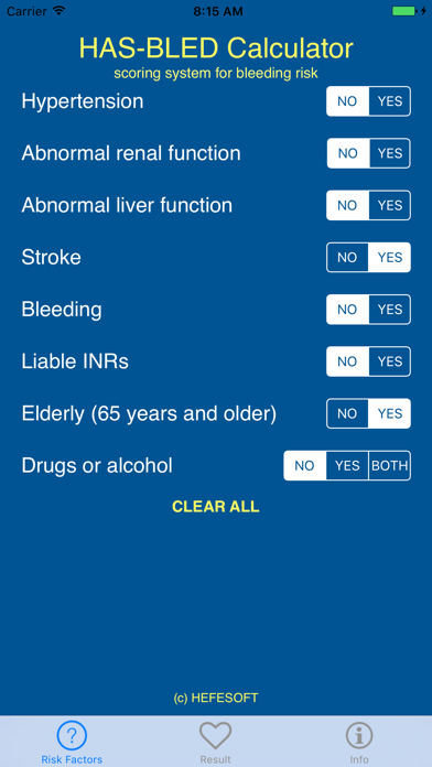 HAS-BLED Bleeding Risk Score Calculator