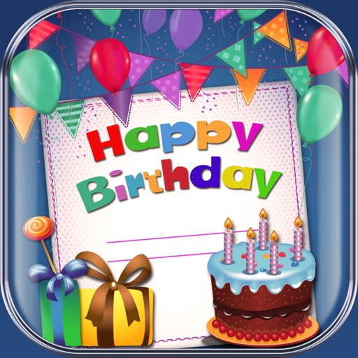 Happy Birthday Card Maker Free Bday Greeting Cards App Logo