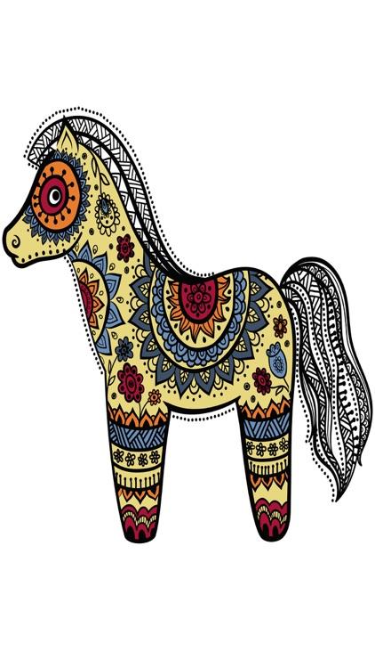 Mandalas Horses Coloring pages for adults - Pro screenshot-4