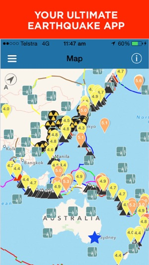Earthquake alert map info on the app store iphone ipad gumiabroncs Image collections