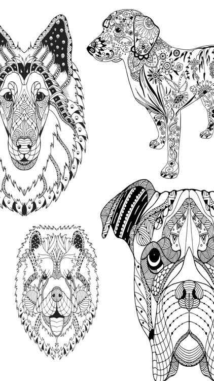 Mandalas dog - Coloring pages for adults screenshot-4