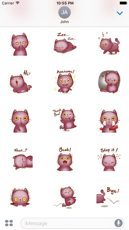 Violet Kitten for iMessage by AMSTICKERS screenshot-3