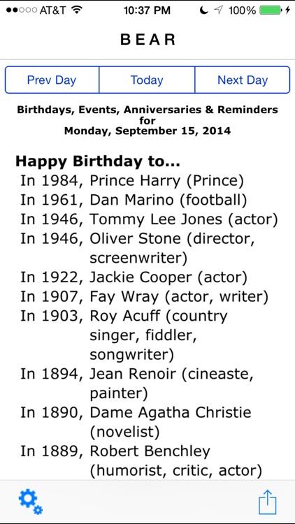 Birthdays, Events, Anniversaries & Reminders