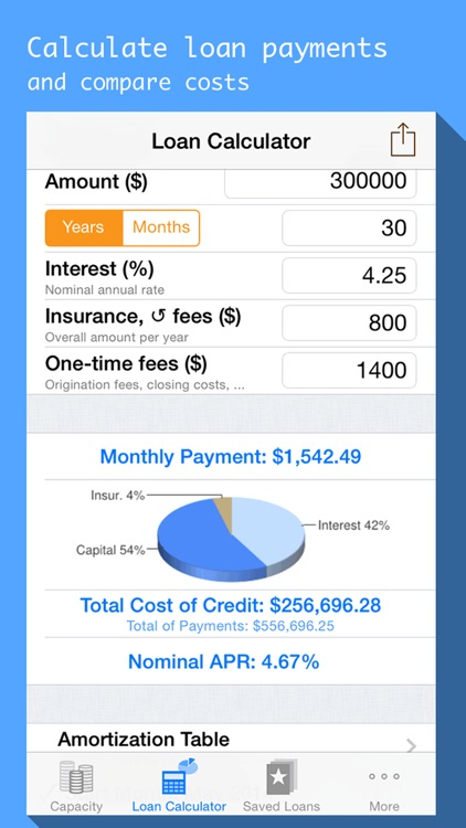Mortgages & Loan payment calculator with schedule