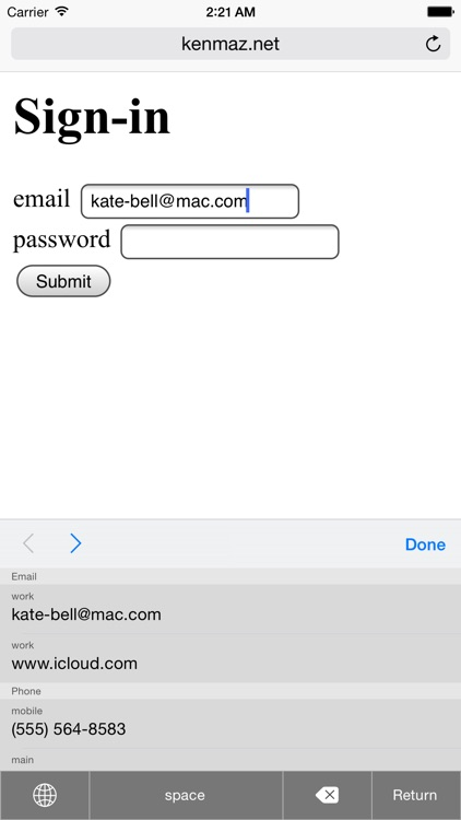 Contacts Keyboard