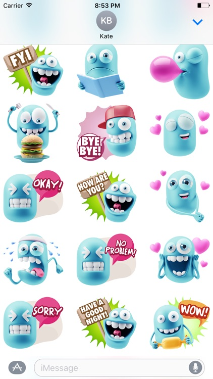 3D Blue Smiley Stickers screenshot-4