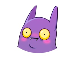 Batty is a little purple bat, as cute and mischievous as it gets