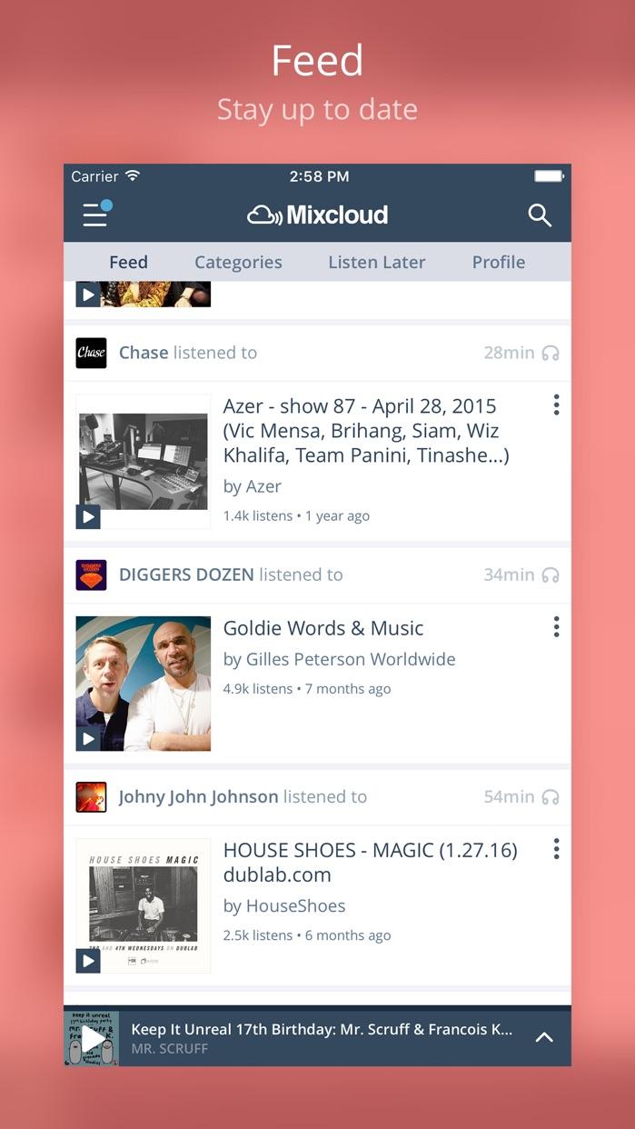 Mixcloud - Radio & DJ mixes Screenshot