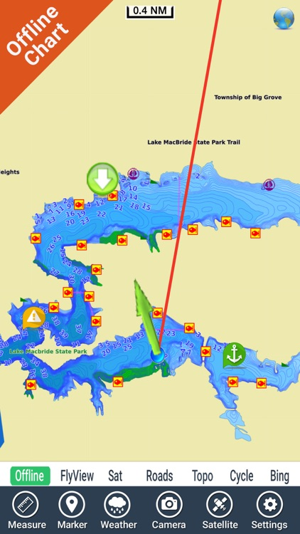 Lake Macbride IOWA HD GPS fishing chart offline screenshot-2