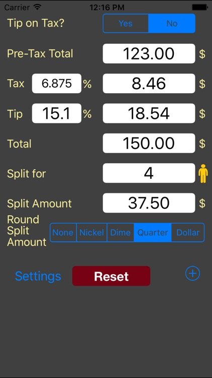 Tip Calculator w bill splitter saved tip/tax rate
