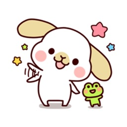 Cute Rabbit And Frog Sticker