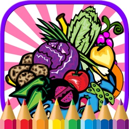 Food Fruit Coloring Page Drawing Book for Kids