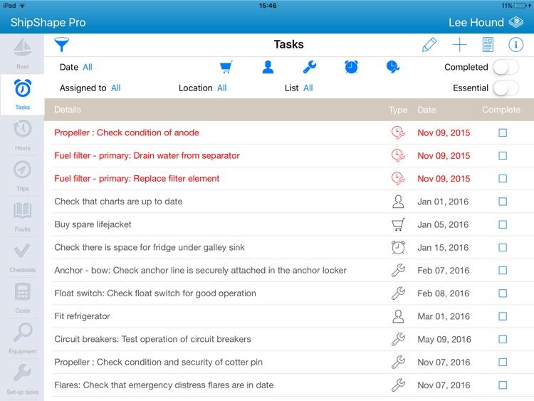 ShipShape Pro -  Boat Maintenance App for iPad screenshot-0