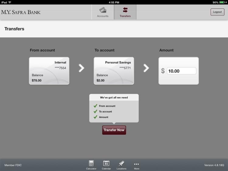 M.Y. Safra Bank - Mobile Banking for iPad screenshot-3