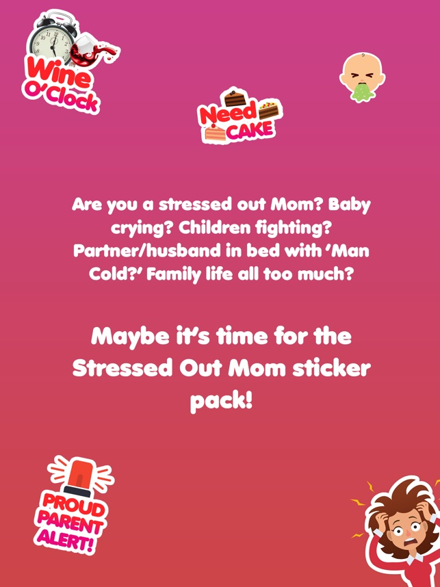 Stressed moms funny parent baby stickers on the app store