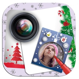 Snowy photo collage with creative frames