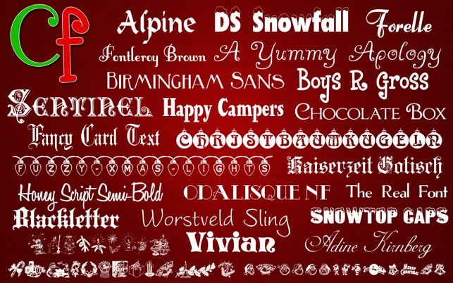 Christmas Fonts.Free Fonts Christmas Collection On The Mac App Store