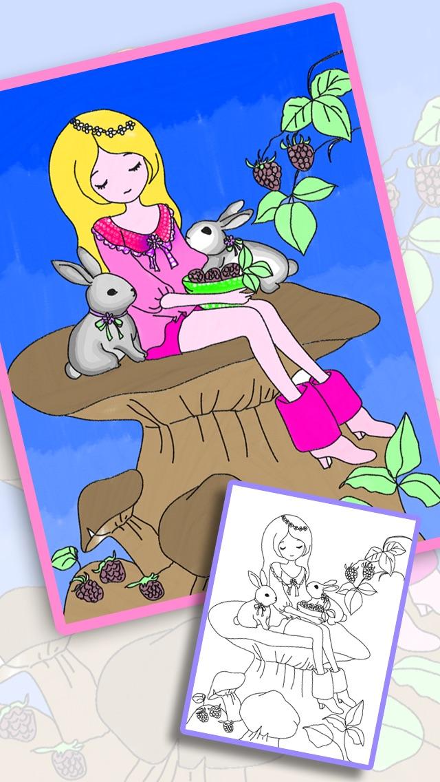お姫様ぬりえ絵本 -デコぬりえ - お絵描きパッドとぬりえの2in1スクリーンショット1