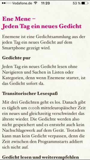 Ene Mene Jeden Tag Ein Gedicht على App Store