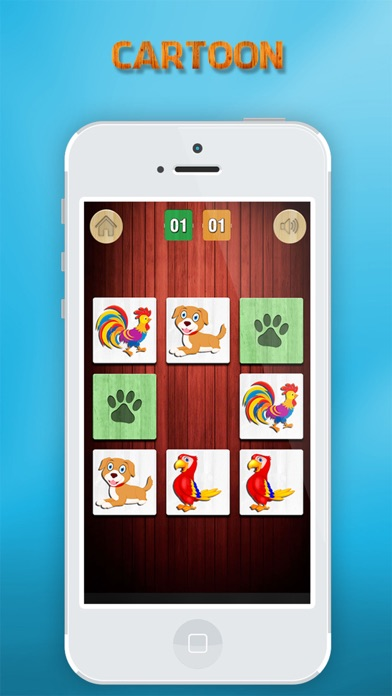 Animals matching game for kids with real sounds