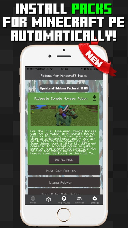 Addons for Minecraft PE Packs Worlds