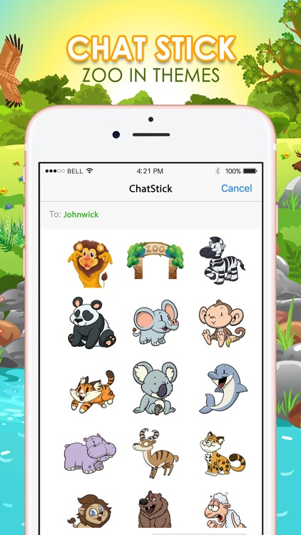 Emoji Sticker Keyboard in The Zoo Themes ChatStick