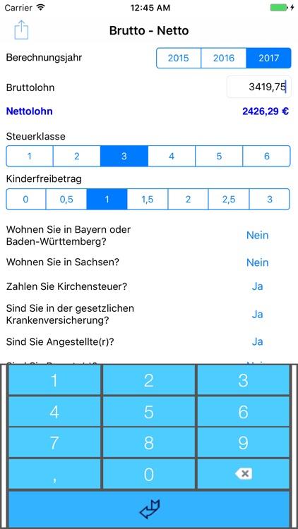 iLohn 2017 - Brutto-Netto-Rechner screenshot-3
