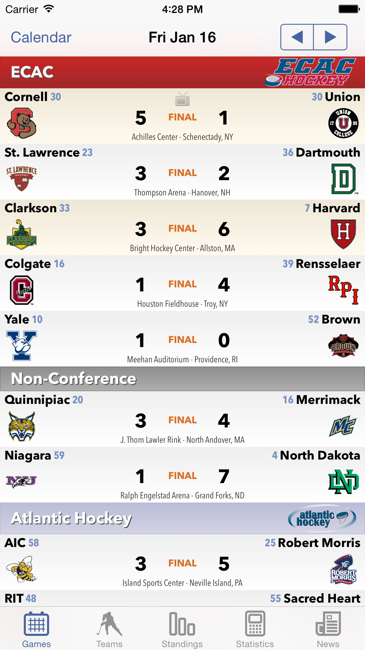 College Hockey News Screenshot