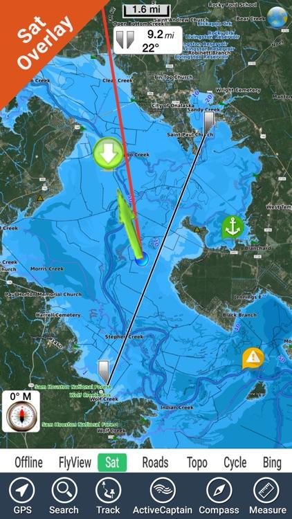 Lake Livingston Texas GPS fishing map offline