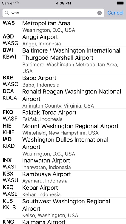 Airport Codes