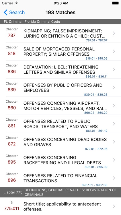 FL Criminal Code (LawStack's Florida Law/Statutes) screenshot-4