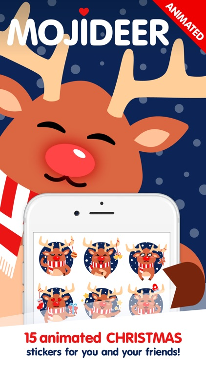 Moji Reindeer Animated Christmas Sticker Pack