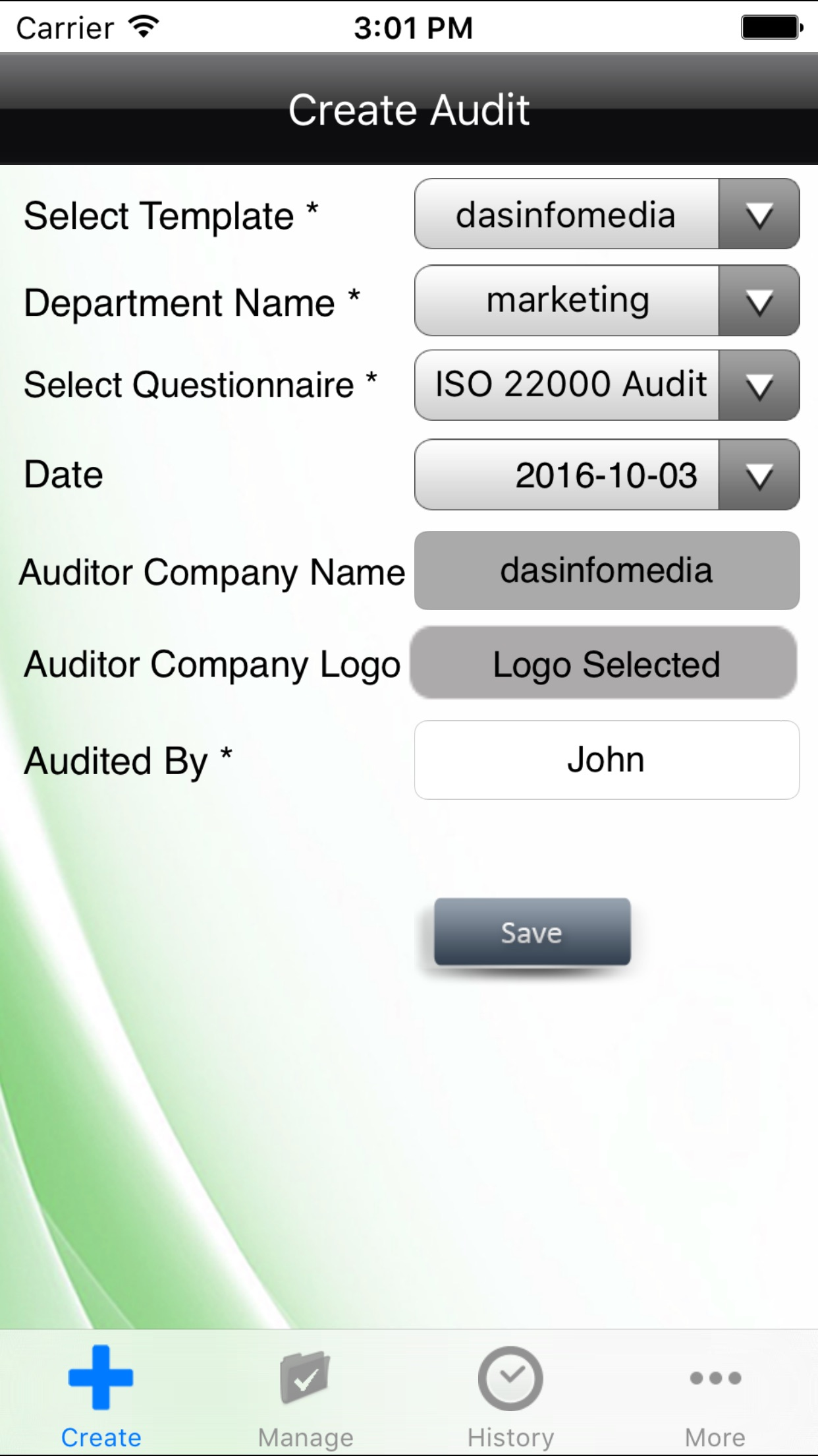 ISO 22000- Internal Food Safety Management Audit Screenshot